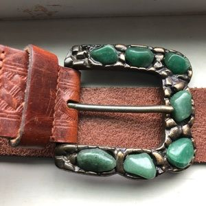 Express vintage leather and stone belt